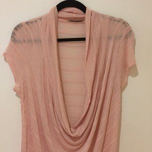 Draped/cowl-neck pink top